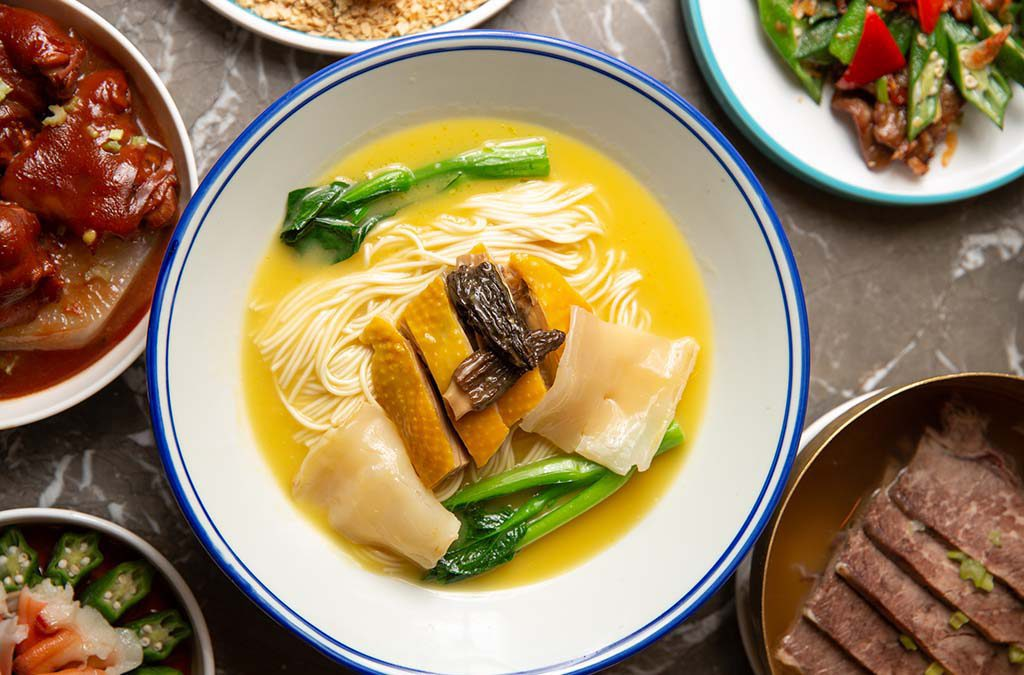 MOLOKAI FISH MAW & CHICKEN WITH SHANGHAINESE NOODLE IN CHICKEN BROTH